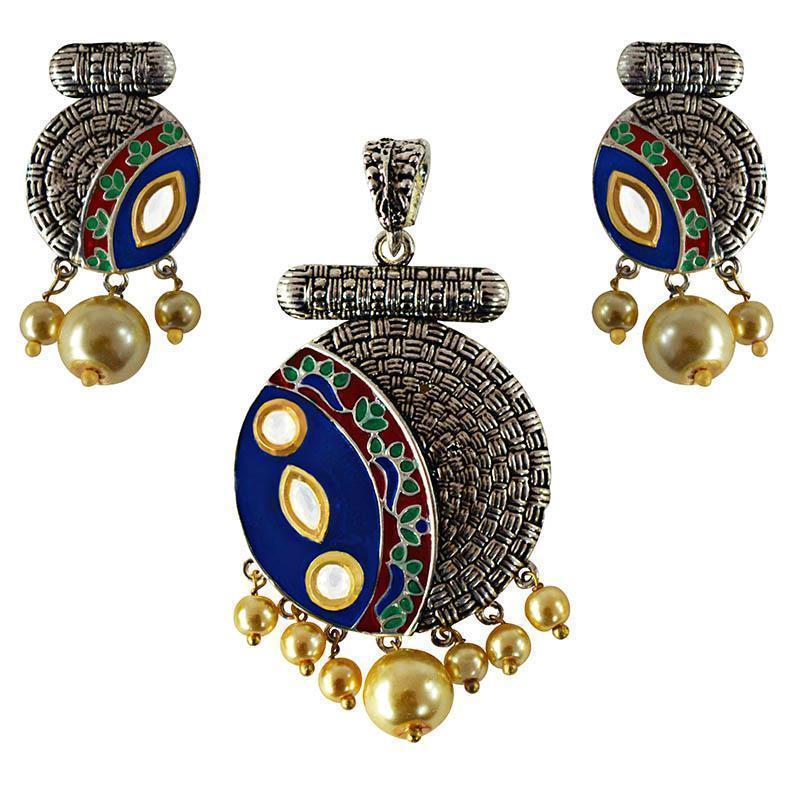 Antique Meenakari Silver Plated Pearl Pendant Set