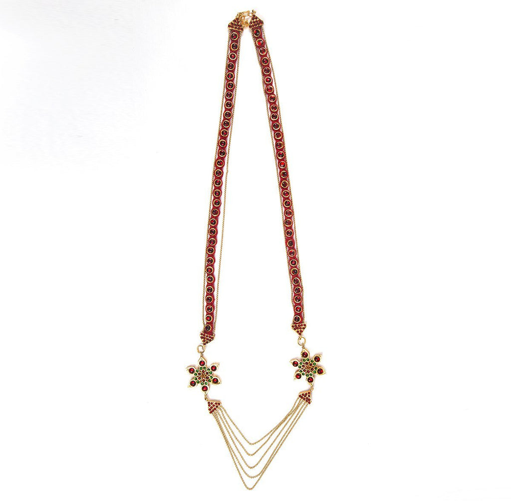 Aarya Red and Green Long Necklace
