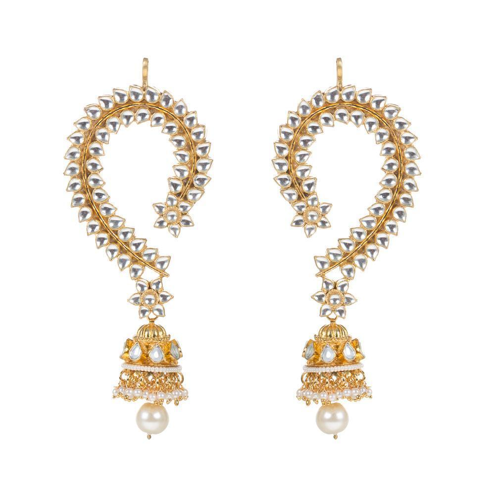 High Quality Golden kundan jhumkis with earcuffs