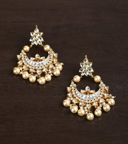 Traditional Kundan Earrings With Pearl Drop