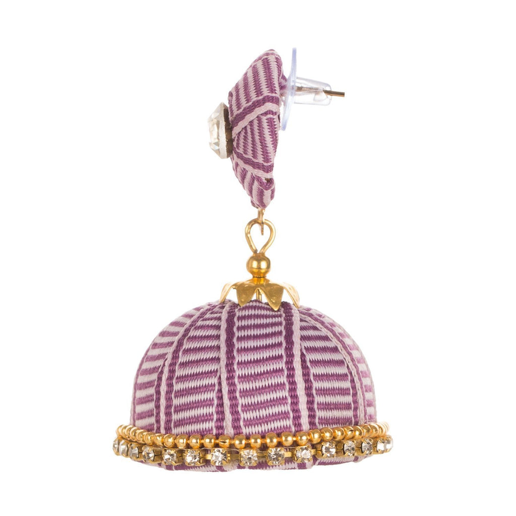 Designer Purplw Earring With Thread Work