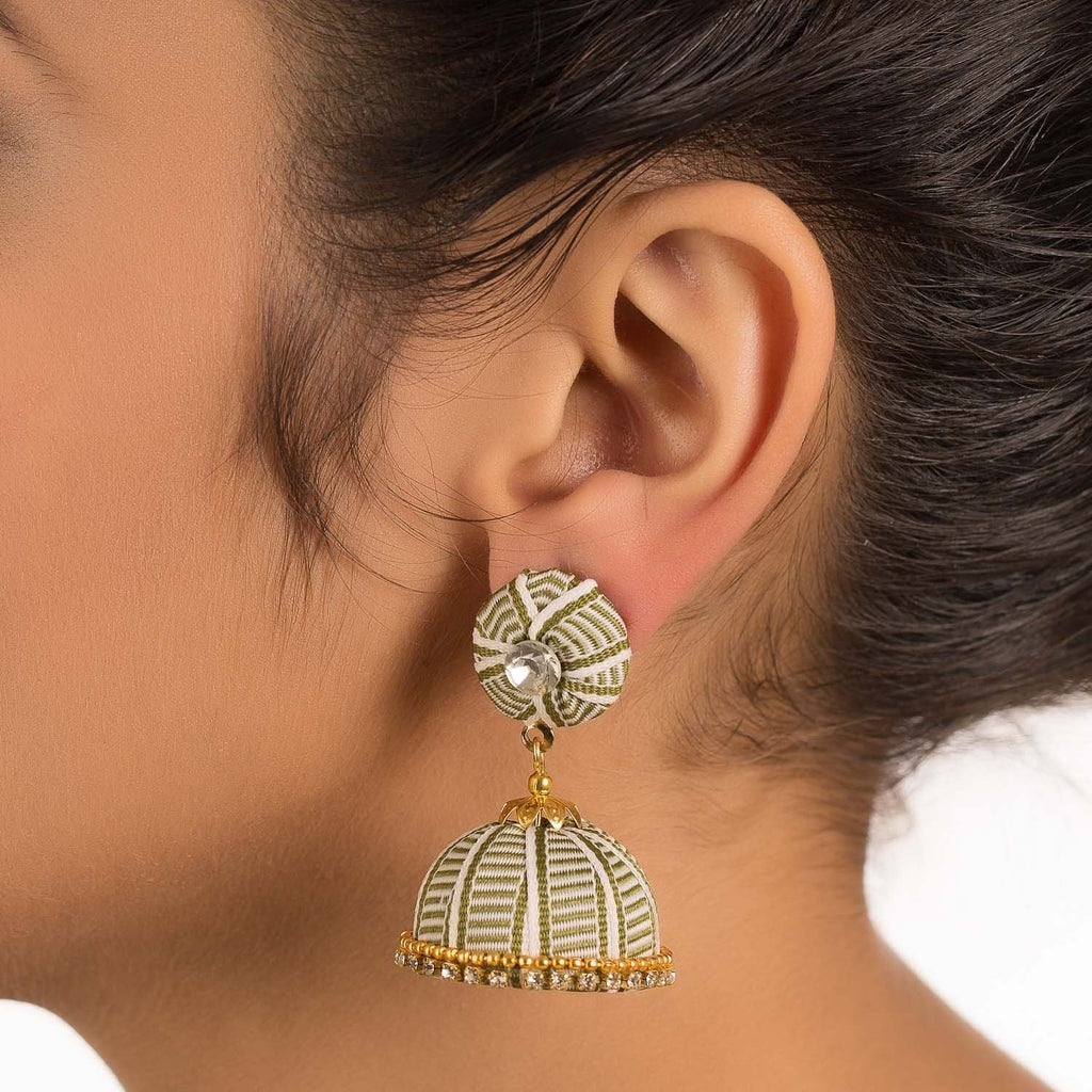 Designer Black Earring With Thread Work