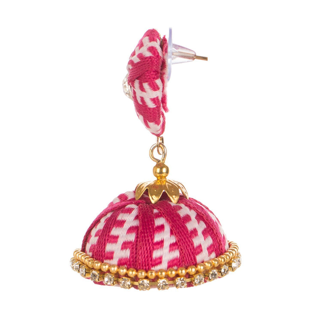 Designer Magenta Earring With Thread Work