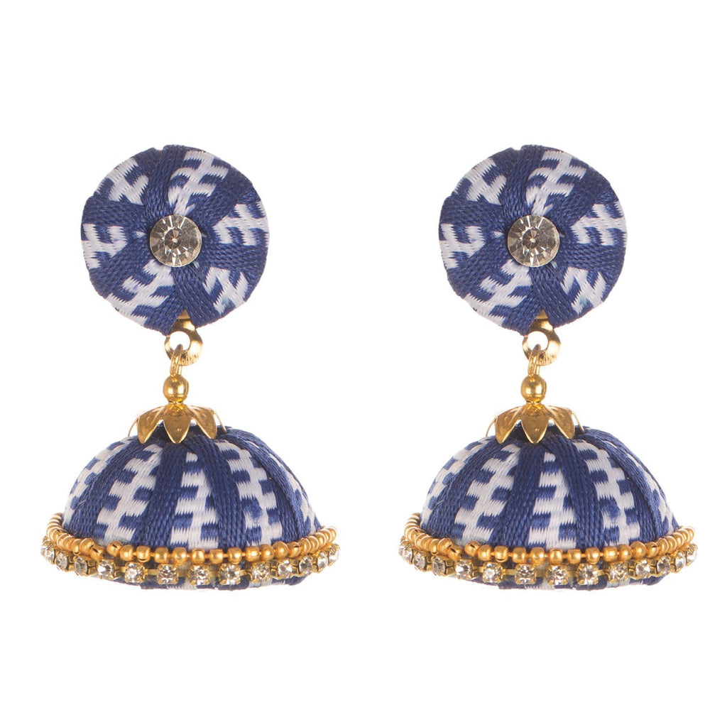 Designer Blue Earring With Thread Work