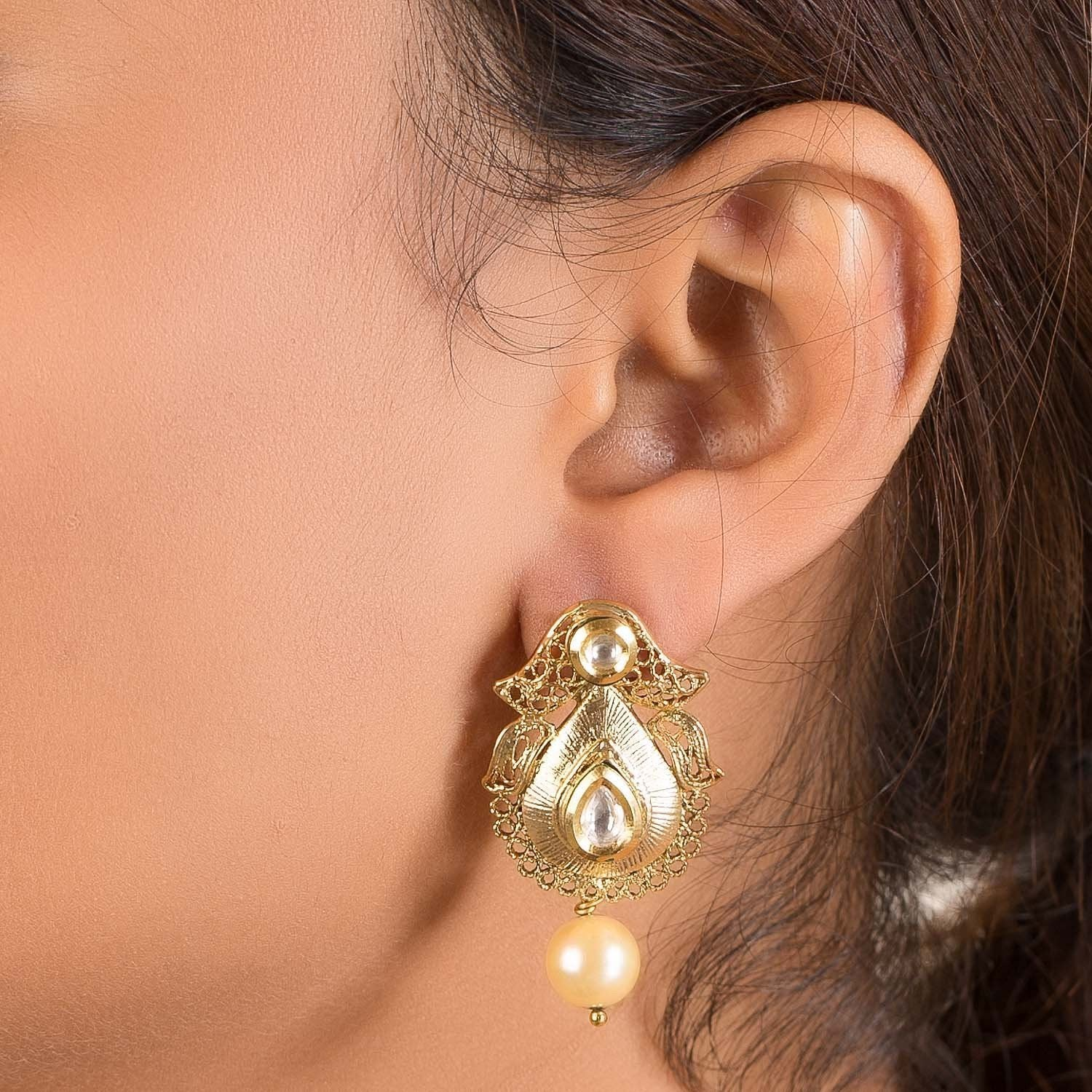Golden Pearl Beaded Earrings