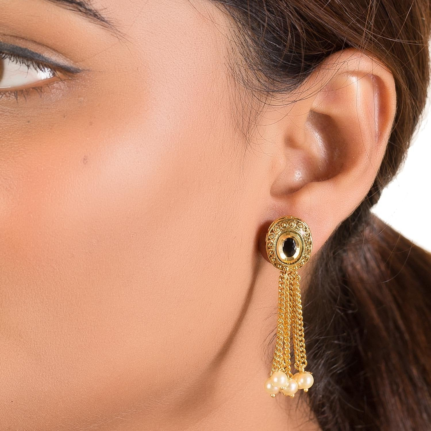 Gold Plated Earrings With Chains