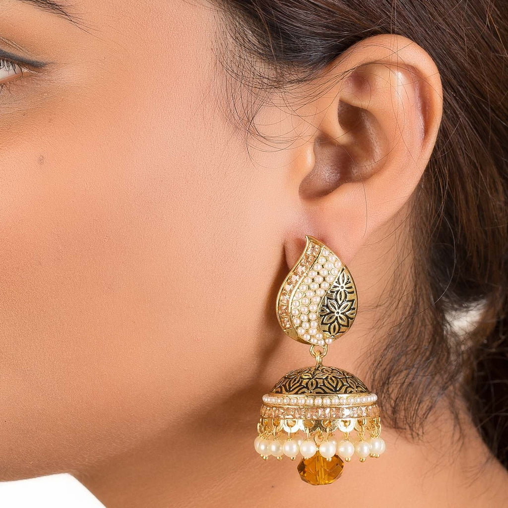 Dull Gold Pearl Studded Jhumkis