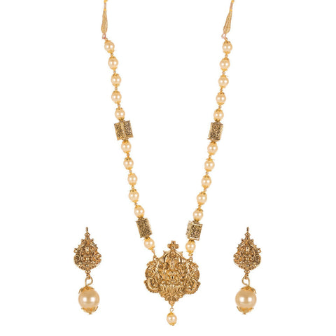 Gold Plated Lakshmi Temple Set With High Quality Beading
