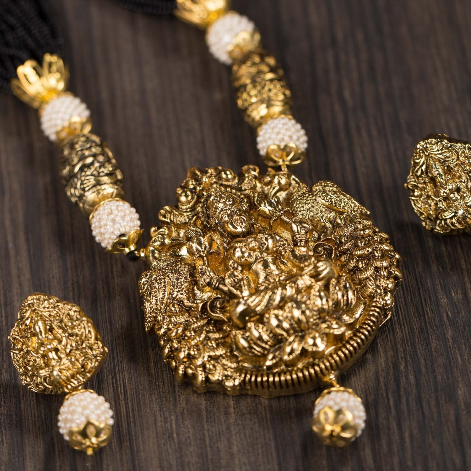 Gold Plated Beaded Temple Set With Earrings