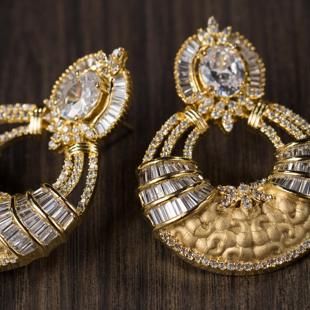 Gold Plated Earrings Wth High Zircon