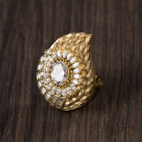 Gold Plated Adjustable Ring Wth High Zircon