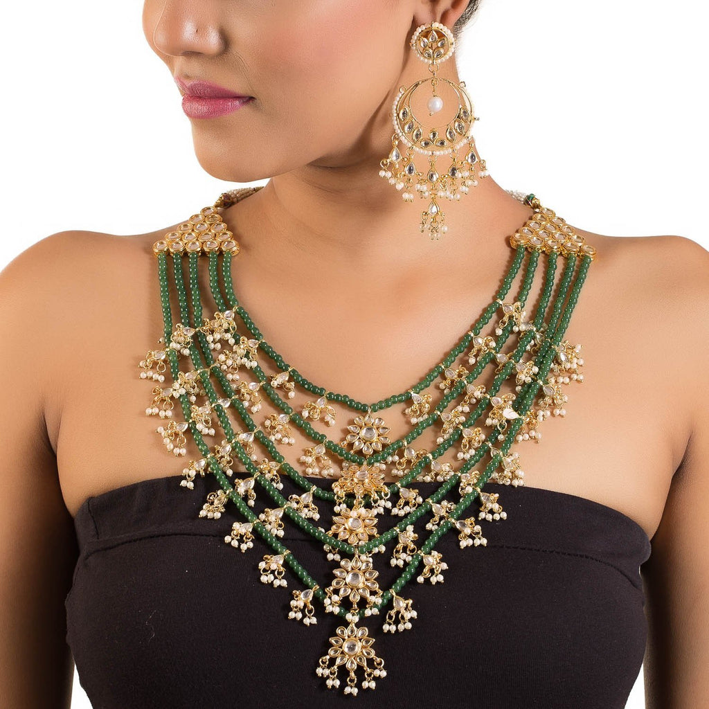 Multilayered Gold Plated Kundan And Emerald Set
