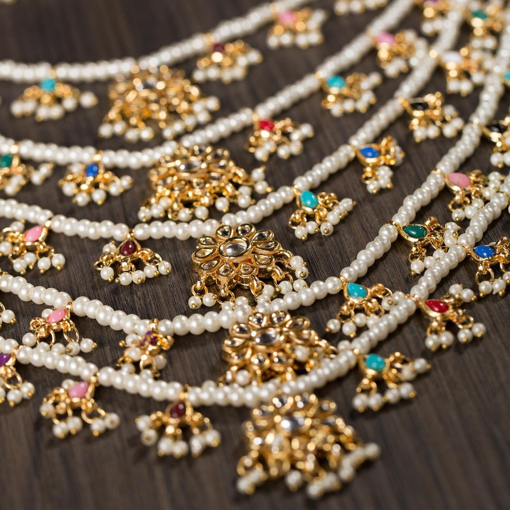 Multilayered Gold Plated Kundan And Navrattan Set