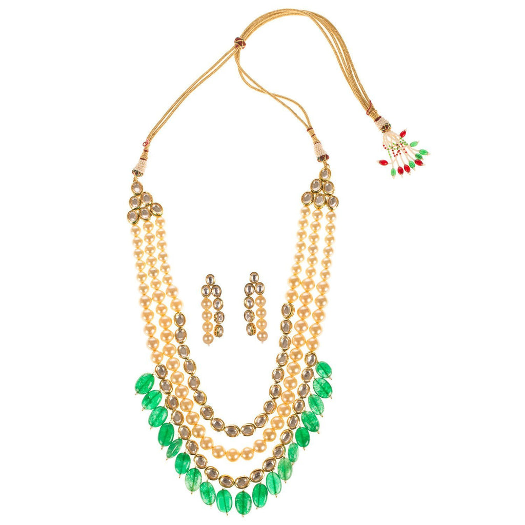 22 K Gold Plated High Quality Kundan And Pearl Multi layered Set