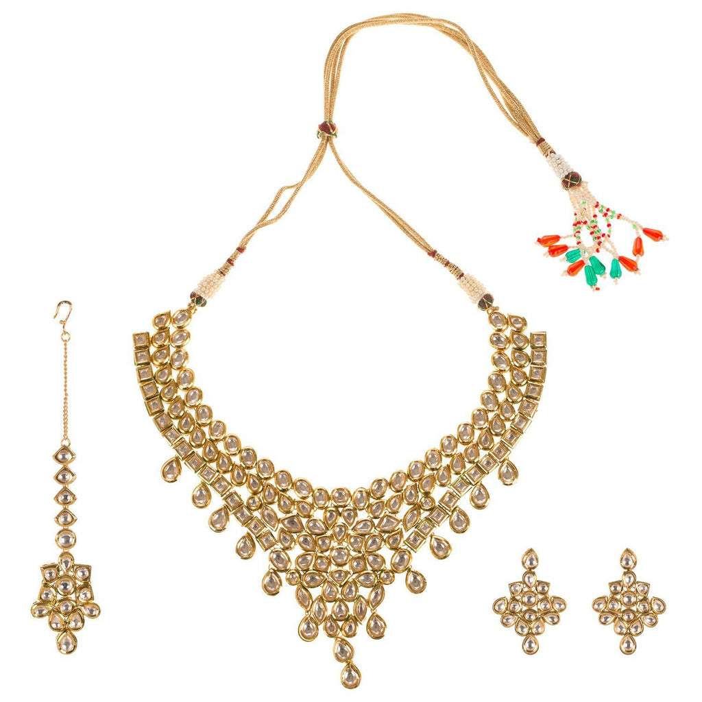 22 Crt Gold Plated High Quality Heavy Kundan Set