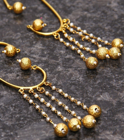 22 Carat Gold Plated Kundan Earrings With Ear Cuffs