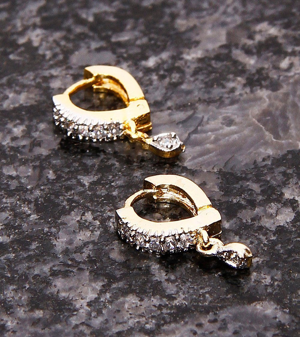 Gold Plated Geometric Design With American Diamond Stones Hoop Earring
