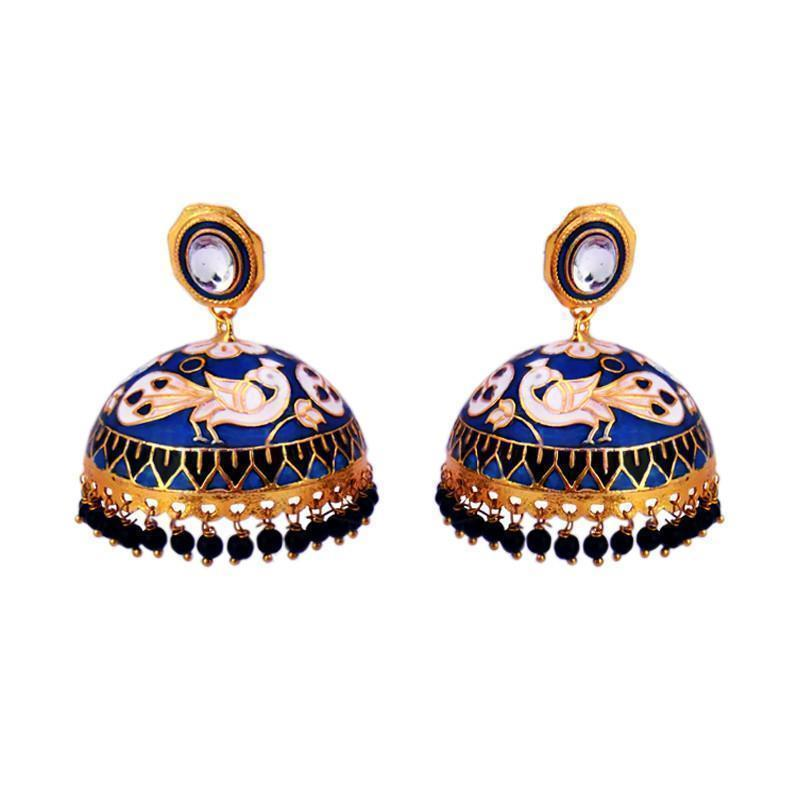 Latest Meenakari Tokri Jhumka Earrings