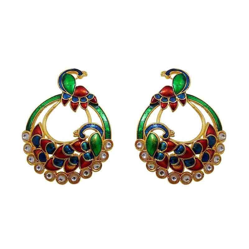 Ethnic Red Green Peacock Chaand Bali Dangler
