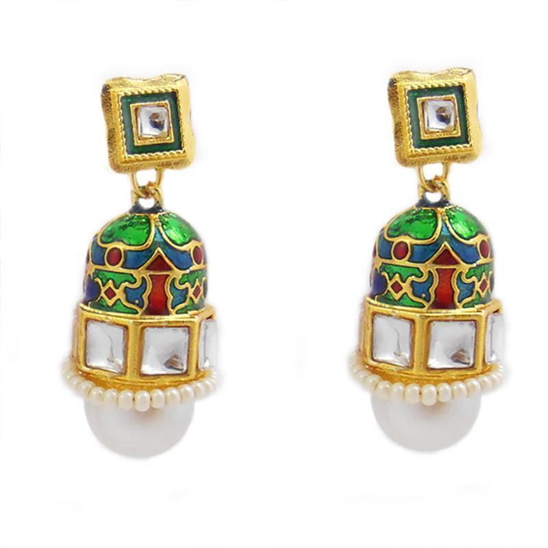 Kundan Meenakari Rocket Jhumki Earrings