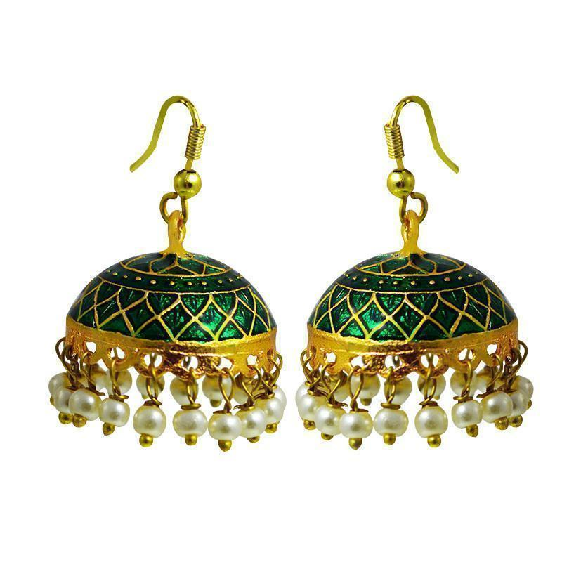 Elegant Meenakari Tokri Jhumki Earrings