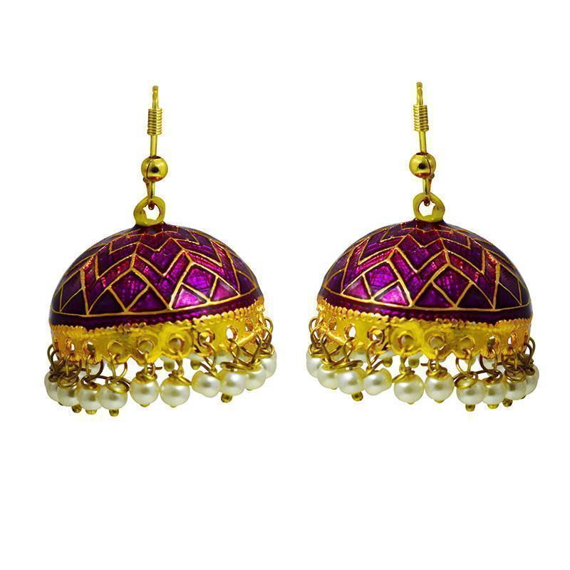 Ethnic Meenakari Tokri Jhumki Earrings