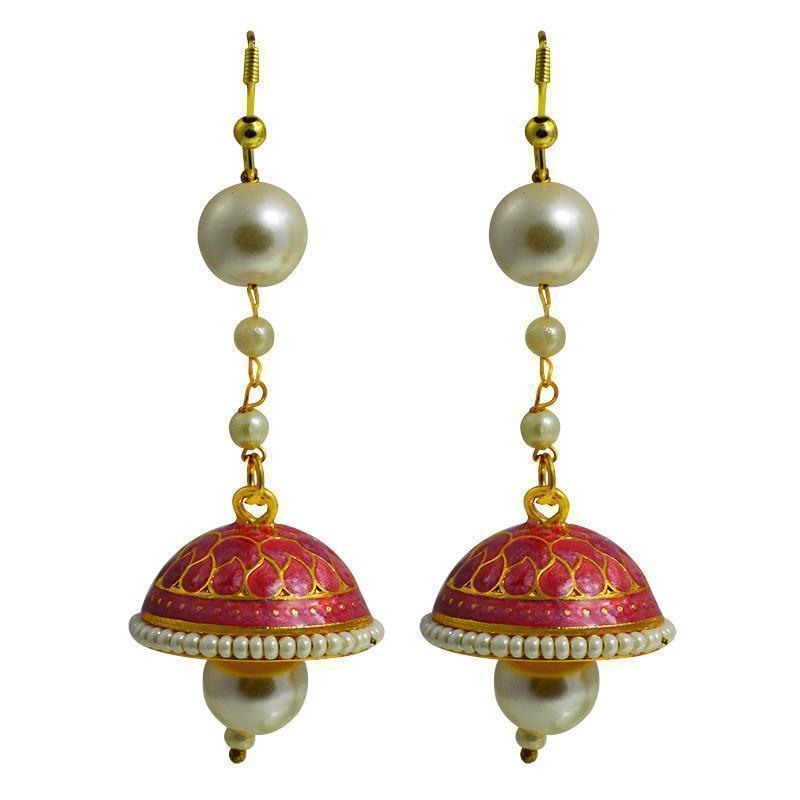 Exclusive Meenakari Pearl String Tokri Jhumki Earrings