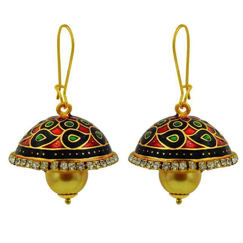 Beautiful Meenakari & American Diamond Loop Tokri Jhumki Earrings