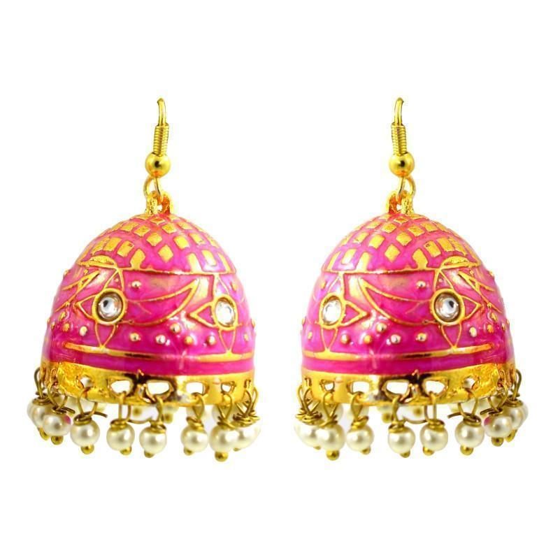 Designer Meenakari Tokri Jhumki Earrings