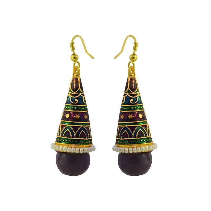 Traditional Meenakari Kundan Rocket Shaped Jhumki Earring