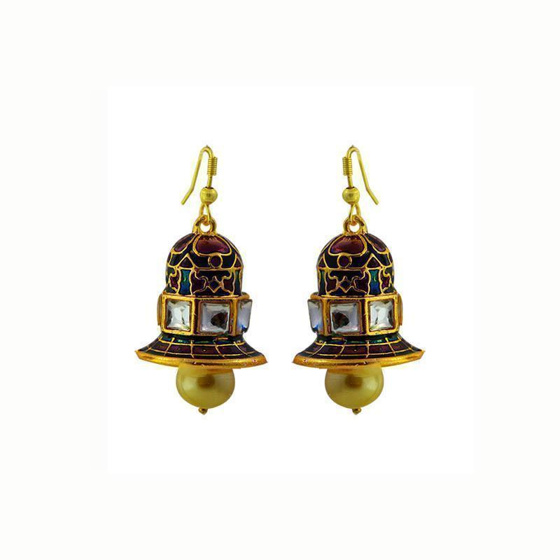 Traditional Kundan Meenakari Jhumki Earrings
