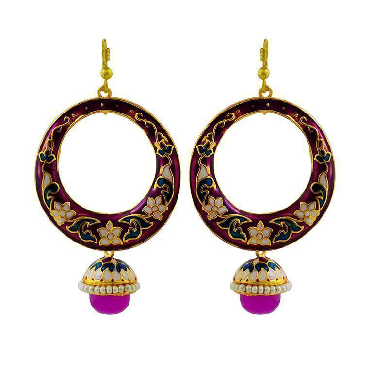Elegant Meenakari Big Bali Earrings