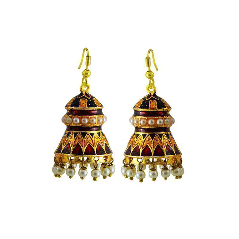 Designer Kundan Meenakari Jhumki Earrings