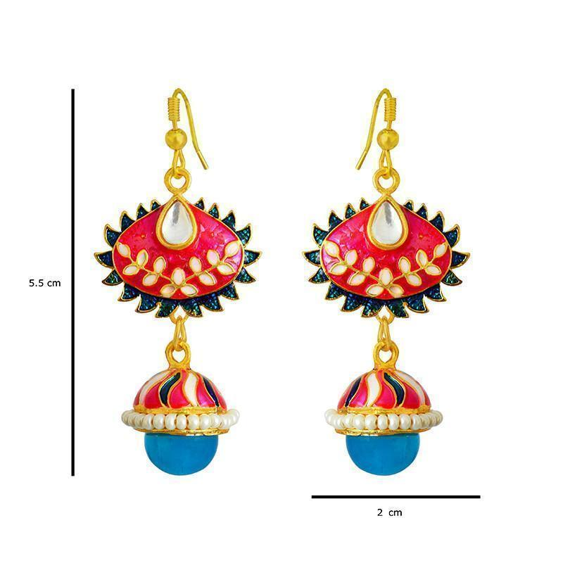 Beautiful Gangour Special Meenakari Jhumki Earring
