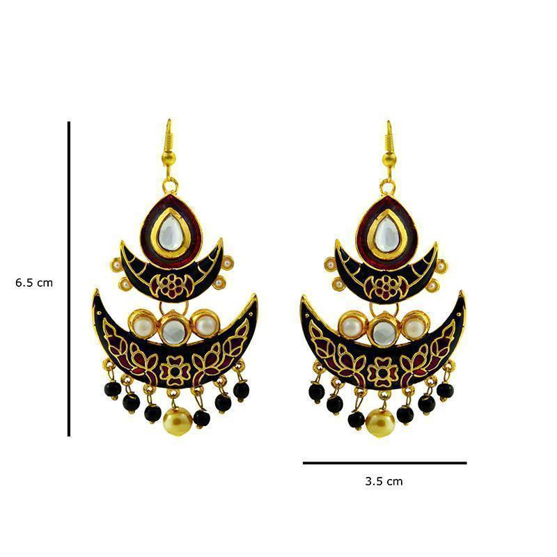 Kundan Meenakari Double Chaand Bali Jhumki With Pearl Strings
