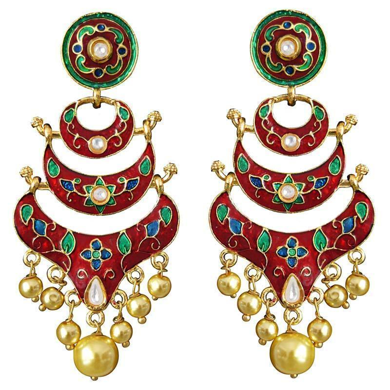 Traditional Kundan Meenakari Double Layer Chaand Bali Brass Earring