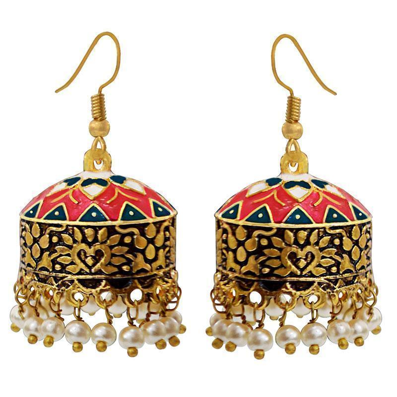 Antique Kundan Meenakari Gold Plated Brass Tokri Jhumka