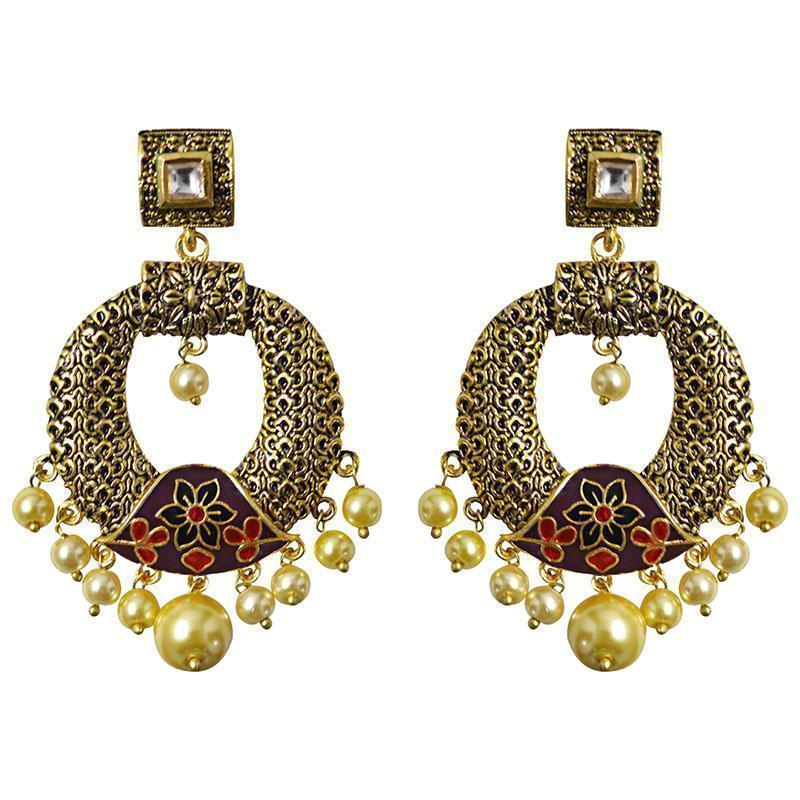 Antique Gold Plated Oxidized Meenakari Pearl Dangler