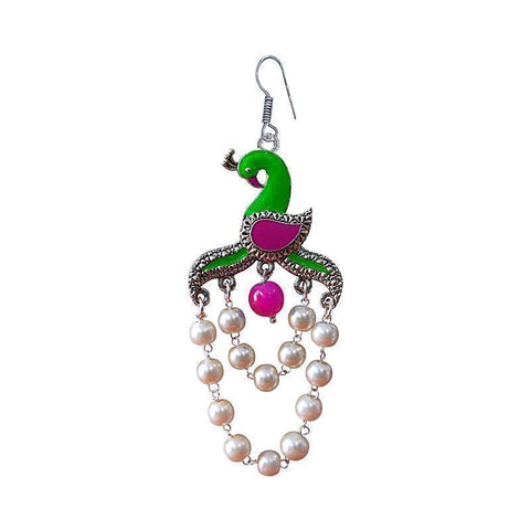 Elegant Meenakari Peacock Shape German Silver Plated Brass Jhumka Earring