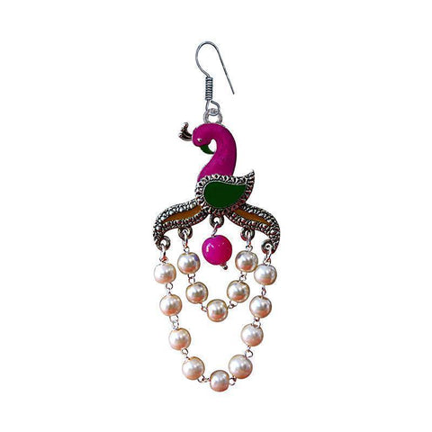 Designer Meenakari Peacock Shape German Silver  Plated Brass Jhumka Earring
