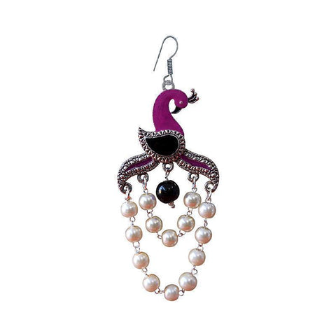 Fashionable Meenakari Peacock Shape German Silver Plated Brass Jhumka Earring