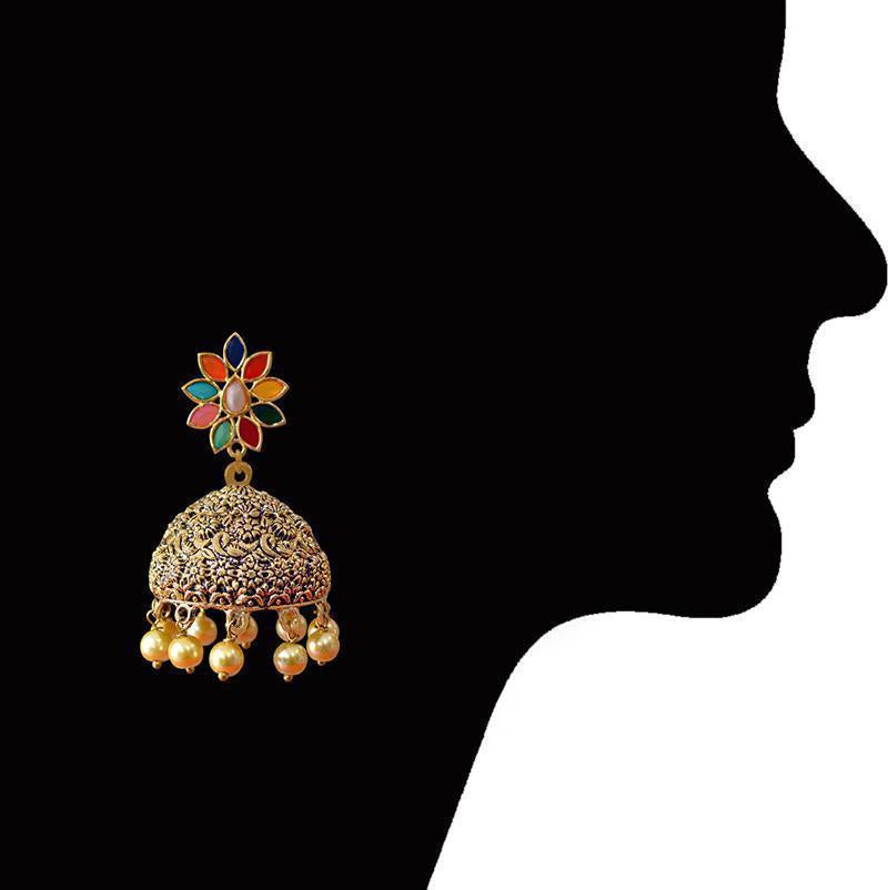 Antique Meenakari Gold plated Brass Tokri Jhumka Earring