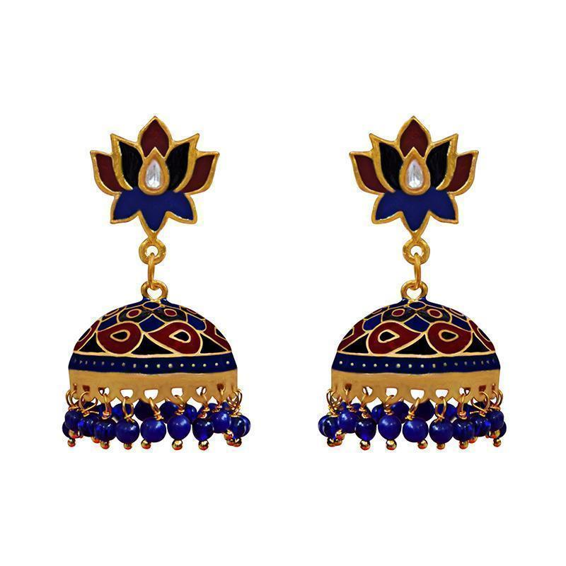 Elegant Meenakari Kundan Gold Plated Brass  Blue Tokri Jhumki Earrings