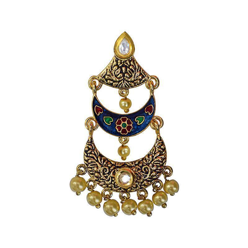 Antique Meenakari Kundan Gold Plated Three Layer Earring