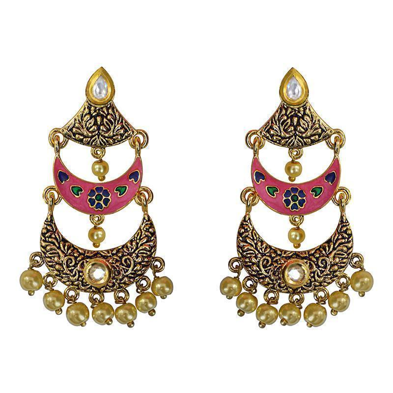 Antique Meenakari Kundan Gold Plated Three Layer Dangler