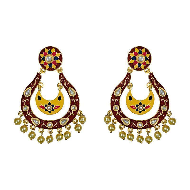 Designer Meenakari Kundan Gold Plated Black Fashion Earring