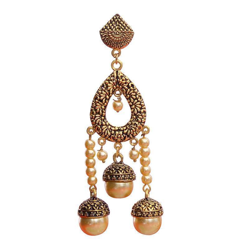 Antique Meenakari Gold Plated Designer Leaf Long String Earring