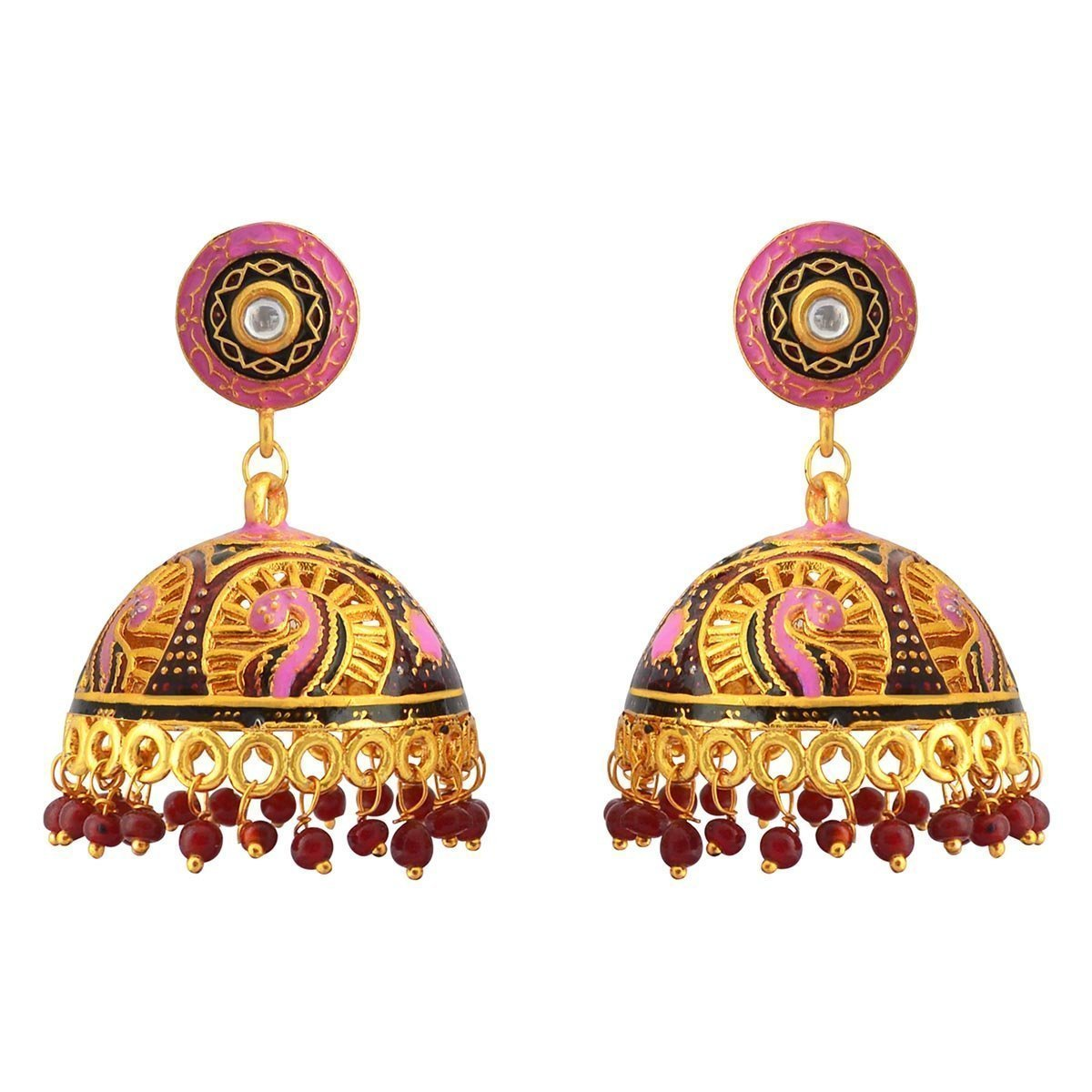Traditional Meenakari gold plated tokri jhumka earrings for women