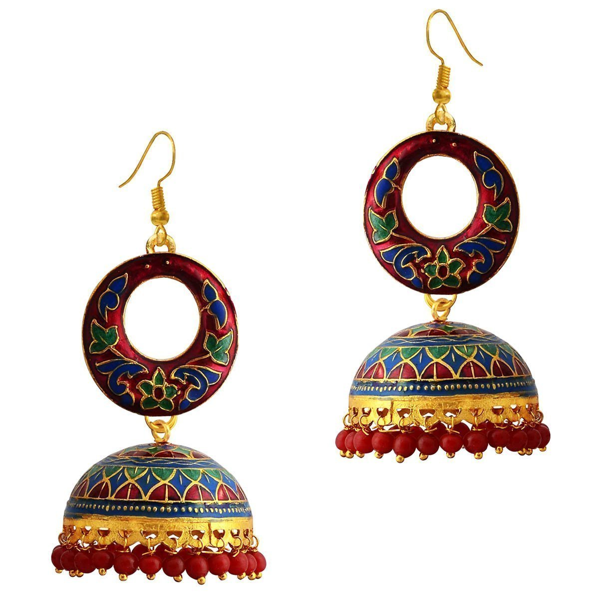 Designer Meenakari Gold Plated Dangler Earring