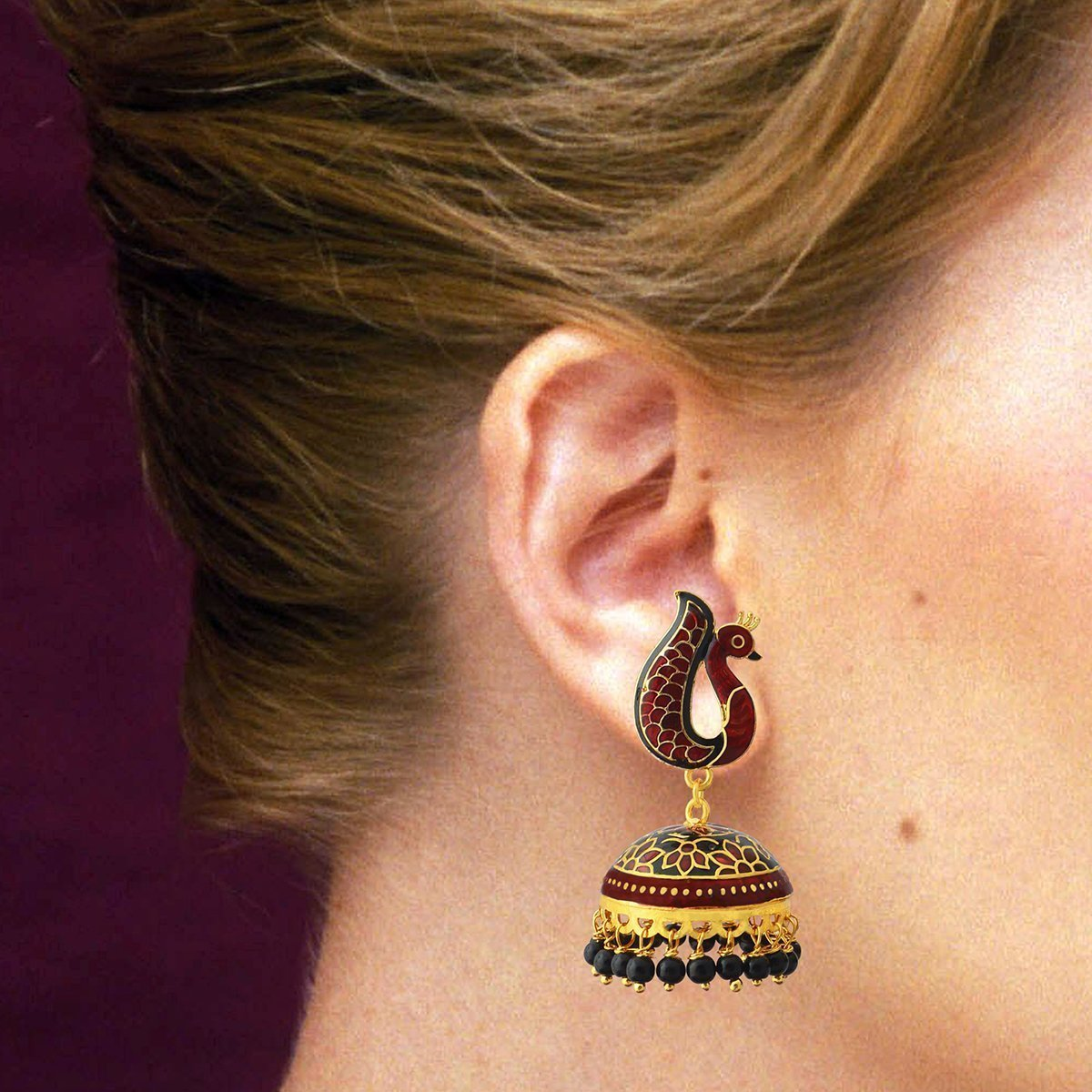 Black Color Traditional Meenakari Peacock Shape Gold Plated Tokri Jhumki Earrings